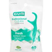 GUM Flosser Picks, Professional Clean, Fresh Mint