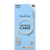 iHip Cable, Lightning, Rubber Finish, 6 Feet