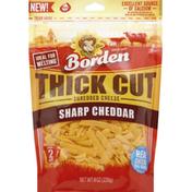 Borden Cheese, Shredded, Sharp Cheddar, Thick Cut