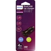 Philips Car Charger, with USB-A and USB-C, Dual USB