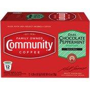 Community Coffee Dark Chocolate Peppermint Coffee Pods for Keurig K-cups