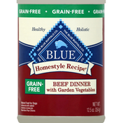 Blue Food for Dogs, Natural, Grain-Free, Beef Dinner with Garden Vegetables