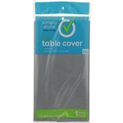 Simply Done Plastic Table Cover, Metallic Silver