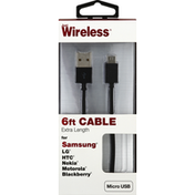 Just Wireless Cable, Micro USB, Extra Length, 6 Feet
