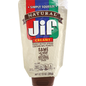 Jif Peanut Butter Spread, Natural, Creamy