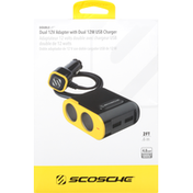 Scosche Dual 12V Adapter with Dual 12W USB Charger, Double Up