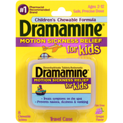 Dramamine Grape Flavor Motion Sickness Relief for Kids Chewable Tablets