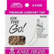On the Go! Premium Comfort Top Knee Highs Nude
