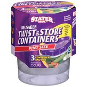 Stater Bros Twist & Store Reusable Pint Size Containers & Lids