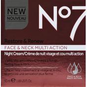 No7 Night Cream, Face & Neck, Multi Action, Restore & Renew