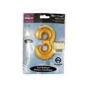 "Mayflower 34"" Number 3 Shape Gold Balloon"