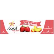 Yoplait Yogurt, Low Fat, Strawberry/Harvest Peach, 8 Pack