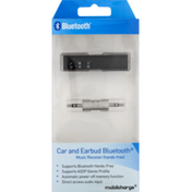 Mobilcharge Music Receiver, Hands-Free, Car and Earbud Bluetooth, Box