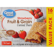 Great Value Cereal Bars, Fruit & Grain, Strawberry, Value Pack