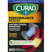 CURAD Bandages, Antibacterial, Fingertip & Knuckle, Assorted Colors/Sizes