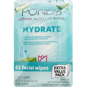 Ponds Vitamin Micellar Wipes, Facial, Hydrate, Extra Value Pack