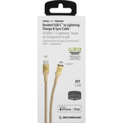 Scosche Charge & Sync Cable, USB-C to Lightning, Braided, 4 Feet