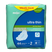 Meijer Ultra Thin Maxi Pads With Flexi Wings, Long Super Absorbency, Size 2