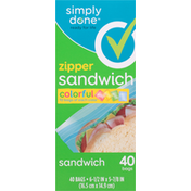 Simply Done Sandwich Bags, Zipper, Colorful