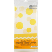 Creative Converting Table Cover, Border Print, Chevron Dots-Mimosa, Plastic