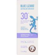 Blue Lizard Sunscreen, Mineral, Sensitive Face, Broad Spectrum SPF 30+