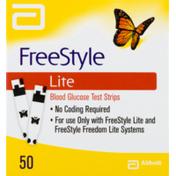 FreeStyle Lite Blood Glucose Test Strips - 50 CT
