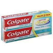 Colgate Toothpaste, Anticavity Fluoride and Antigingivitis, Fresh Mint Stripe, Gel, Value 2 Pack