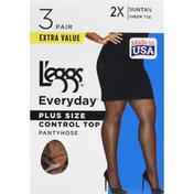 L'eggs Pantyhose, Control Top, Suntan, Plus Size, Size 2X