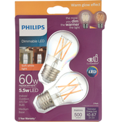 Philips Light Bulbs, Dimmable LED, Soft White, 5.5 Watts, 2 Pack