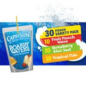 Capri Sun Roarin' Waters Variety Pack with Fruit Punch Wave, Strawberry Kiwi Surf & Tropical Tide Flavored Water Beverages