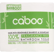 Caboo Bathroom Tissue, Fragrance Free, Double Roll, 2-Ply