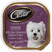 CESAR Senior with Slow Simmered Chicken & Rice in Meaty Juices Wet Dog Food