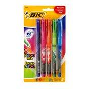 BiC Z4 Roller Neon Inks Fine 0.7mm - 5 CT