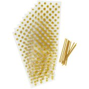 Wilton Gold Dots Clear Party Bags, 10-Count