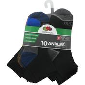 Fruit of the Loom Socks, Ankles, Boys, Medium