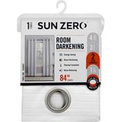 Sun Zero Window Panel, White, Room Darkening, 84 Inch