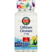 Kal Lithium Orotate, 5 mg, Micro Tablets, Lemon Lime