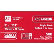 Senco Paper Tape Nails, Bright Basic, Smooth Shank
