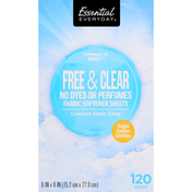 Essential Everyday Fabric Softener Sheets, Free & Clear