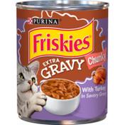 Purina Friskies Gravy Wet Cat Food, Extra Gravy Chunky With Turkey in Savory Gravy