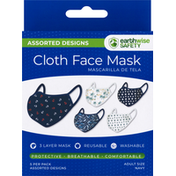 Earthwise Safety Cloth Face Mask, Assorted Designs, Navy, Adult Size