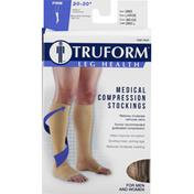 Truform Medical Compression Stockings, Below Knee, Beige, Large