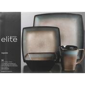 Gibson Elite Dinnerware Set, Stoneware, Tequesta, Taupe