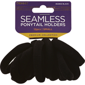 Donna Ponytail Holders, Seamless, Black, Small