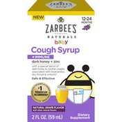 Zarbee's Naturals Baby Cough Syrup + Immune with Honey, Natural Grape Flavor