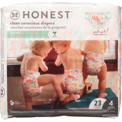 Honest Tea Diapers, Flower Power, Busy Babe, Size 4 (22-37 lbs)
