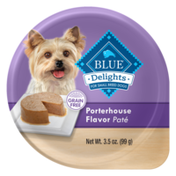 Blue Buffalo Delights Natural Adult Small Breed Wet Dog Food Cup, Porterhouse Flavor in Savory Juice