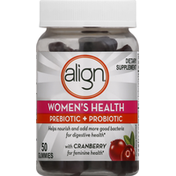 Align Prebiotic + Probiotic, Women's Health, Gummies, Cranberry Flavored