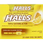 Halls Honey Lemon Menthol Halls Relief Honey Lemon Cough Suppressant/Oral Anesthetic Menthol Drop Sticks