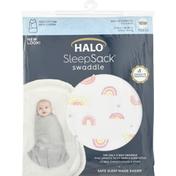 Halo Swaddle, Newborn, Sunshine Rainbows Print Cotton, Birth to 3 Months